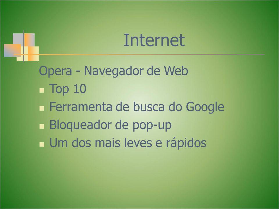 Internet Opera - Navegador de Web Top 10 Ferramenta de busca do Google Bloqueador de pop-up Um dos mais leves e rápidos