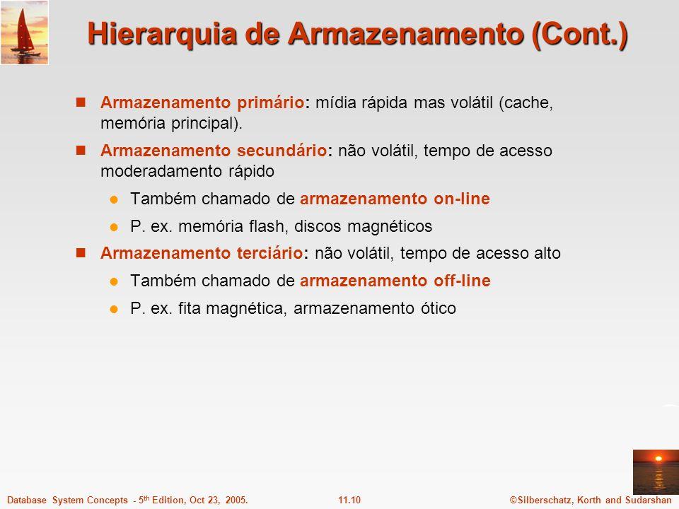 ©Silberschatz, Korth and Sudarshan11.10Database System Concepts - 5 th Edition, Oct 23, 2005. Hierarquia de Armazenamento (Cont.) Armazenamento primár