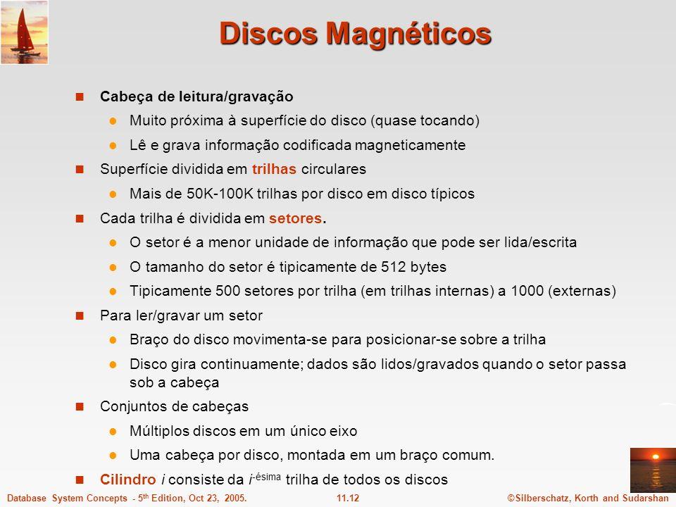 ©Silberschatz, Korth and Sudarshan11.12Database System Concepts - 5 th Edition, Oct 23, 2005. Discos Magnéticos Cabeça de leitura/gravação Muito próxi