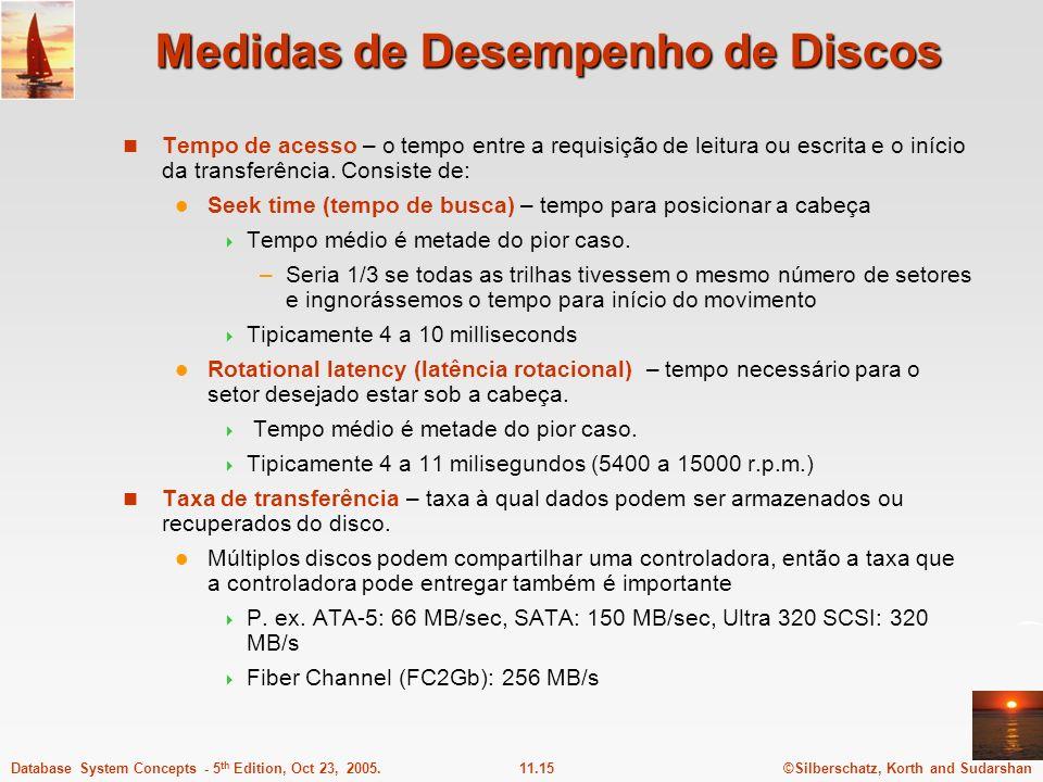 ©Silberschatz, Korth and Sudarshan11.15Database System Concepts - 5 th Edition, Oct 23, 2005. Medidas de Desempenho de Discos Tempo de acesso – o temp