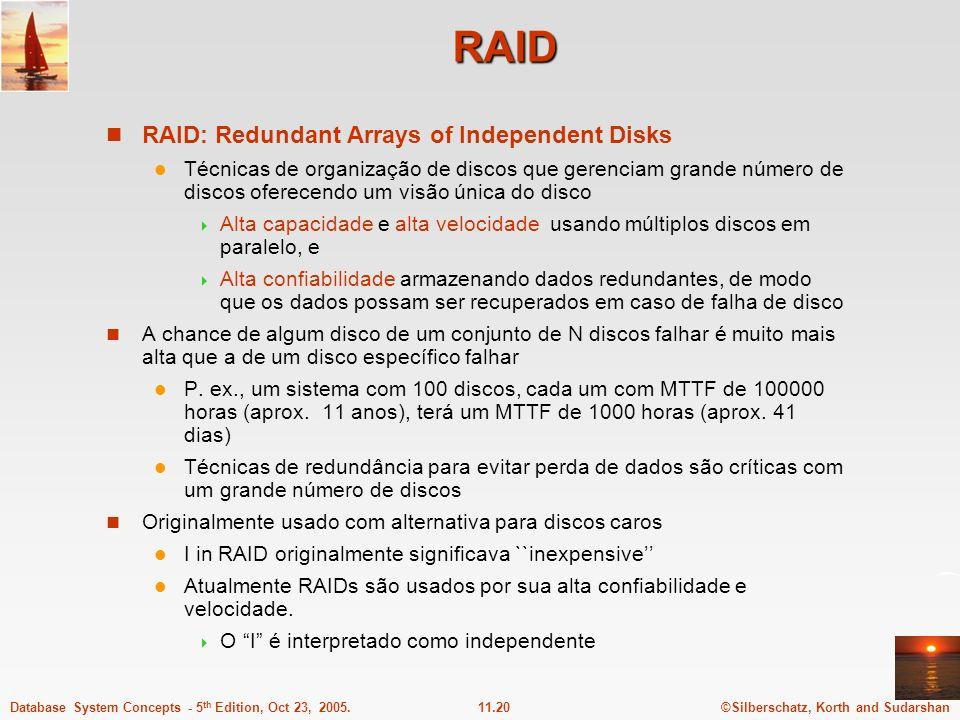 ©Silberschatz, Korth and Sudarshan11.20Database System Concepts - 5 th Edition, Oct 23, 2005. RAID RAID: Redundant Arrays of Independent Disks Técnica