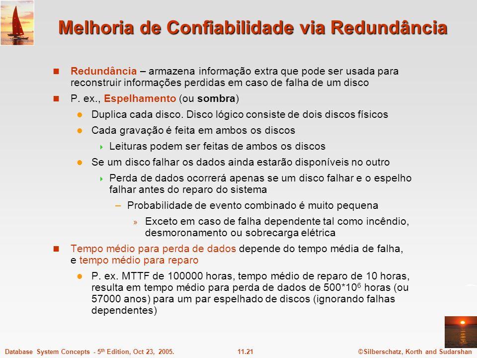 ©Silberschatz, Korth and Sudarshan11.21Database System Concepts - 5 th Edition, Oct 23, 2005. Melhoria de Confiabilidade via Redundância Redundância –
