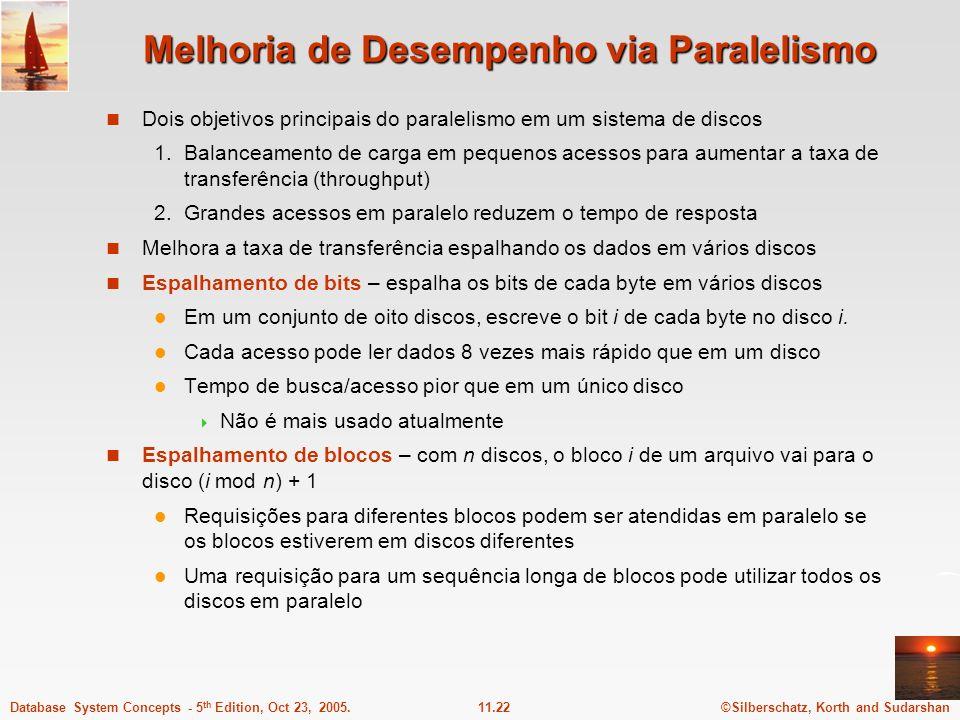 ©Silberschatz, Korth and Sudarshan11.22Database System Concepts - 5 th Edition, Oct 23, 2005. Melhoria de Desempenho via Paralelismo Dois objetivos pr