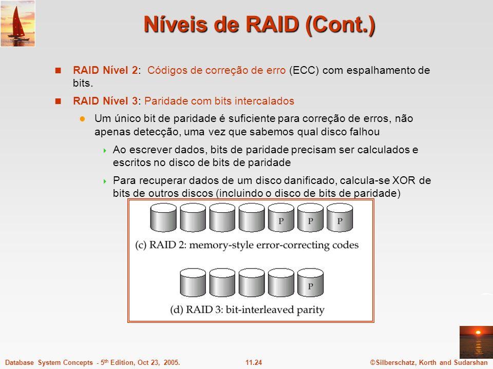 ©Silberschatz, Korth and Sudarshan11.24Database System Concepts - 5 th Edition, Oct 23, 2005. Níveis de RAID (Cont.) RAID Nível 2: Códigos de correção