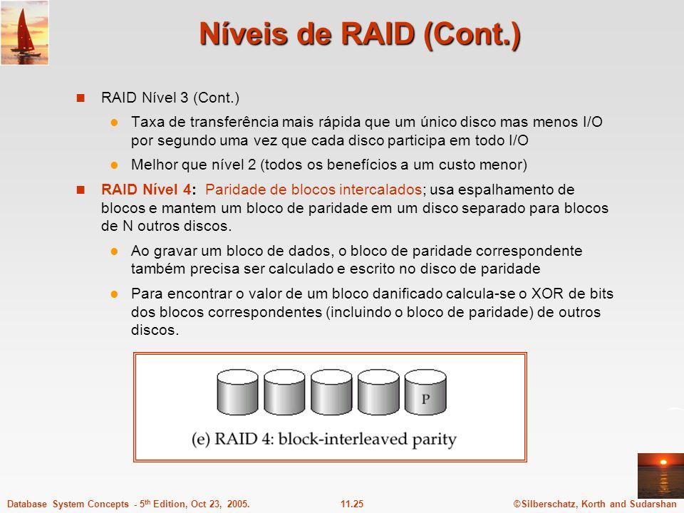 ©Silberschatz, Korth and Sudarshan11.25Database System Concepts - 5 th Edition, Oct 23, 2005. Níveis de RAID (Cont.) RAID Nível 3 (Cont.) Taxa de tran