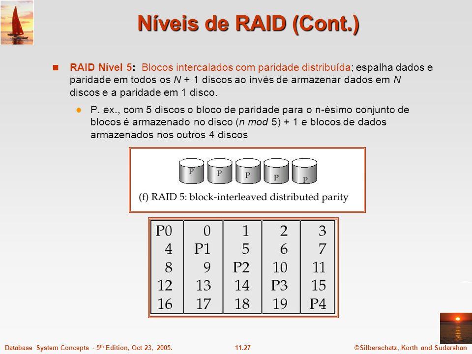 ©Silberschatz, Korth and Sudarshan11.27Database System Concepts - 5 th Edition, Oct 23, 2005. Níveis de RAID (Cont.) RAID Nível 5: Blocos intercalados