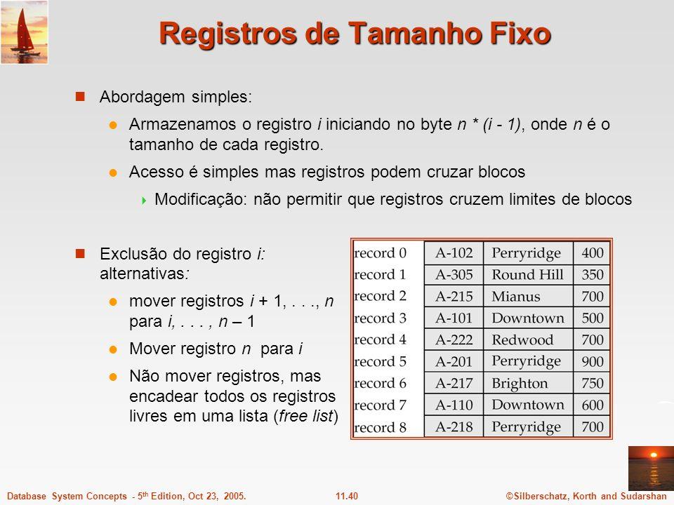 ©Silberschatz, Korth and Sudarshan11.40Database System Concepts - 5 th Edition, Oct 23, 2005. Registros de Tamanho Fixo Abordagem simples: Armazenamos