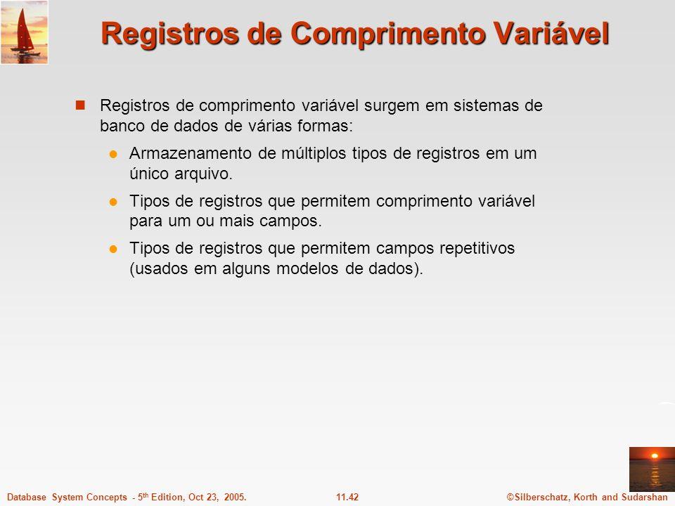 ©Silberschatz, Korth and Sudarshan11.42Database System Concepts - 5 th Edition, Oct 23, 2005. Registros de Comprimento Variável Registros de comprimen