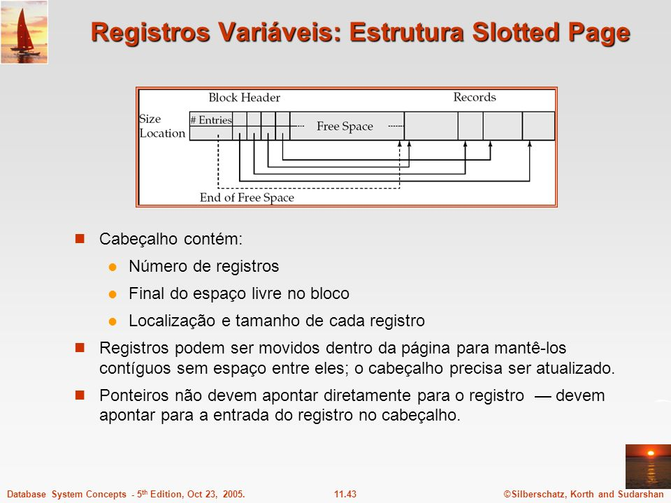 ©Silberschatz, Korth and Sudarshan11.43Database System Concepts - 5 th Edition, Oct 23, 2005. Registros Variáveis: Estrutura Slotted Page Cabeçalho co