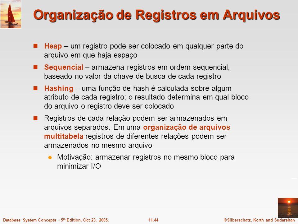 ©Silberschatz, Korth and Sudarshan11.44Database System Concepts - 5 th Edition, Oct 23, 2005. Organização de Registros em Arquivos Heap – um registro