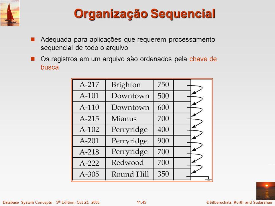 ©Silberschatz, Korth and Sudarshan11.45Database System Concepts - 5 th Edition, Oct 23, 2005. Organização Sequencial Adequada para aplicações que requ