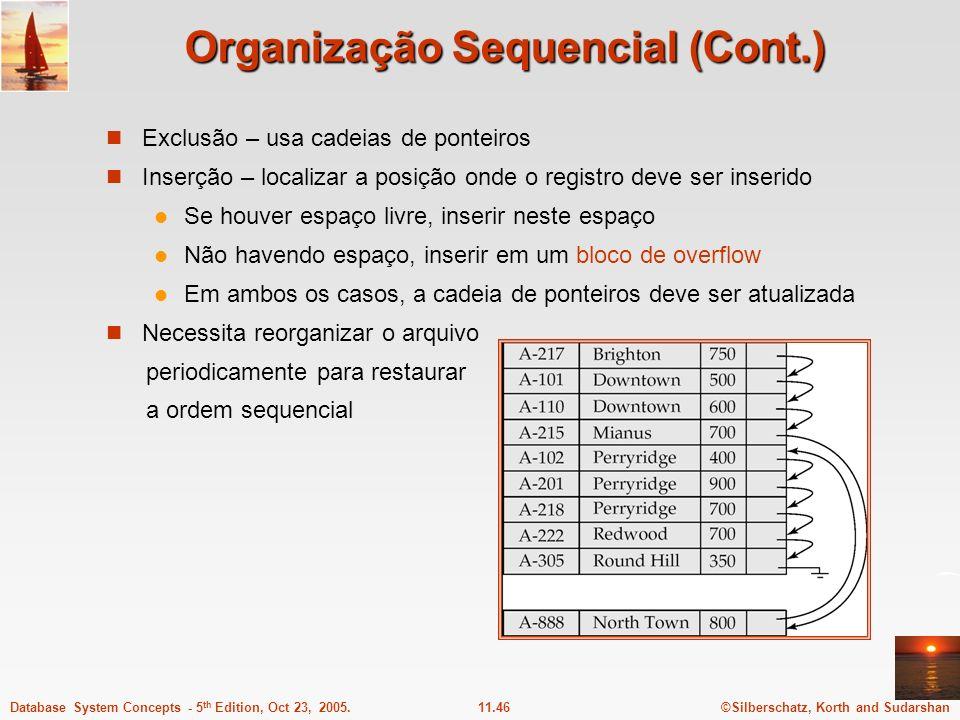 ©Silberschatz, Korth and Sudarshan11.46Database System Concepts - 5 th Edition, Oct 23, 2005. Organização Sequencial (Cont.) Exclusão – usa cadeias de