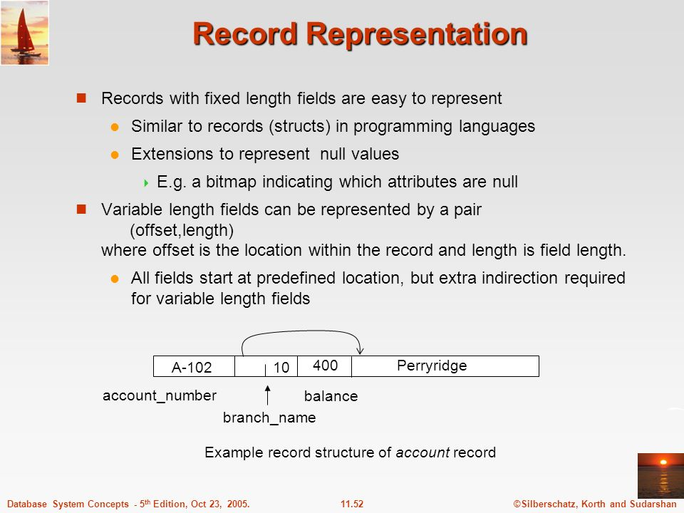 ©Silberschatz, Korth and Sudarshan11.52Database System Concepts - 5 th Edition, Oct 23, 2005. Record Representation Records with fixed length fields a