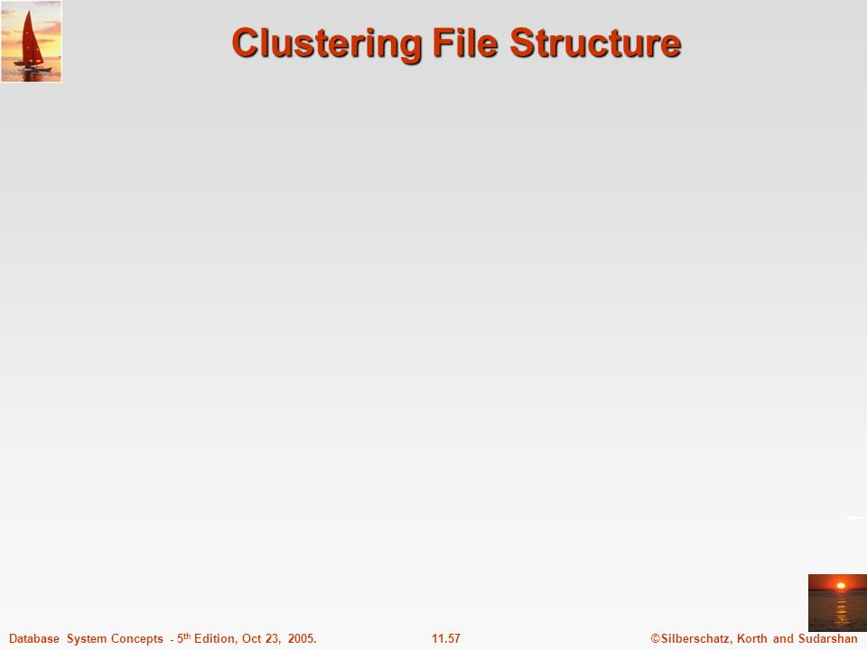 ©Silberschatz, Korth and Sudarshan11.57Database System Concepts - 5 th Edition, Oct 23, 2005. Clustering File Structure