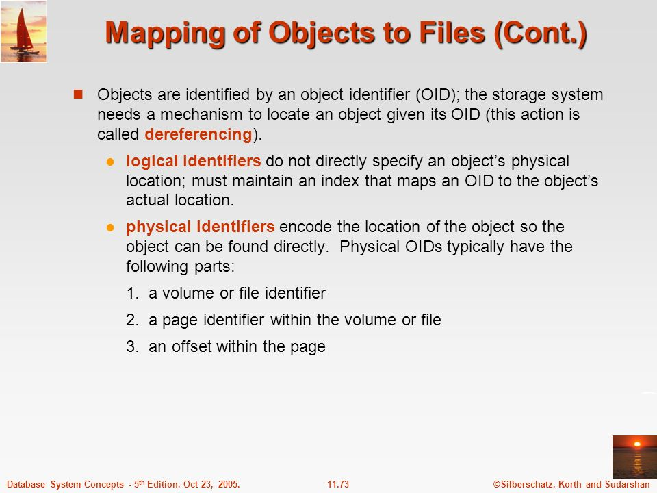 ©Silberschatz, Korth and Sudarshan11.73Database System Concepts - 5 th Edition, Oct 23, 2005. Mapping of Objects to Files (Cont.) Objects are identifi
