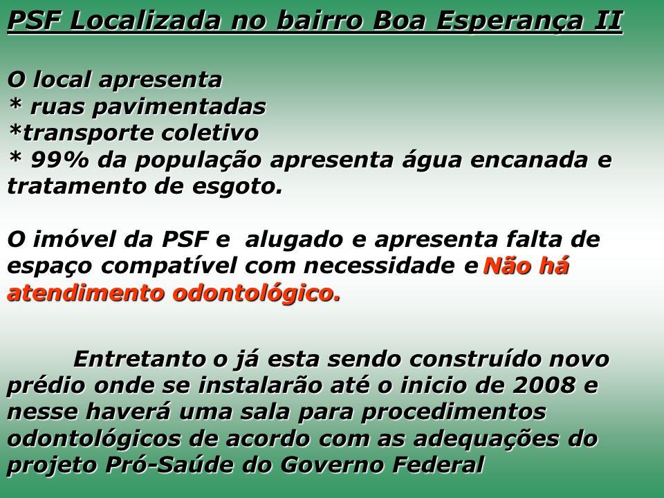 PSF Localizada no bairro Boa Esperança II O local apresenta * ruas pavimentadas *transporte coletivo * 99% da população apresenta água encanada e trat