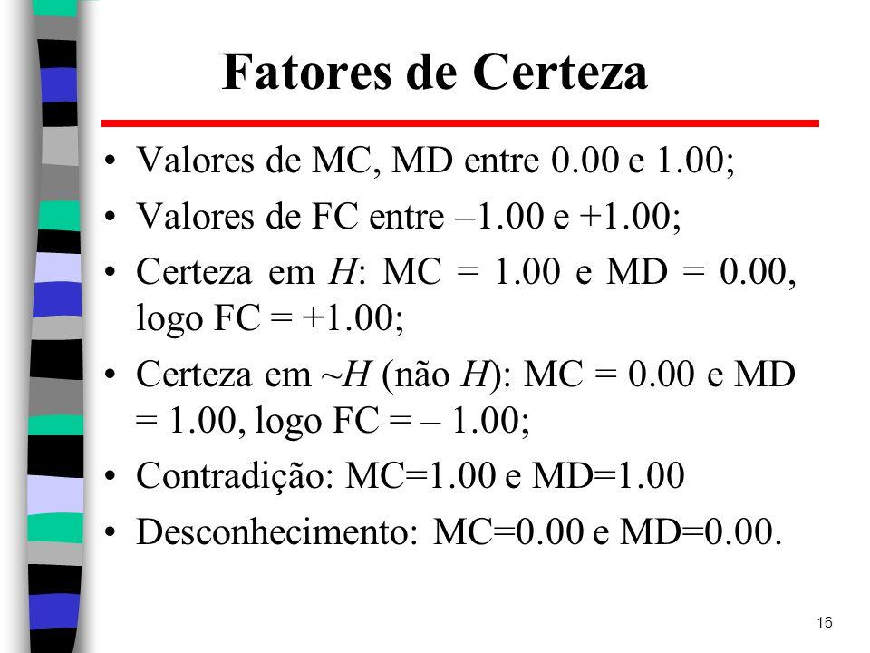 16 Fatores de Certeza Valores de MC, MD entre 0.00 e 1.00; Valores de FC entre –1.00 e +1.00; Certeza em H: MC = 1.00 e MD = 0.00, logo FC = +1.00; Ce