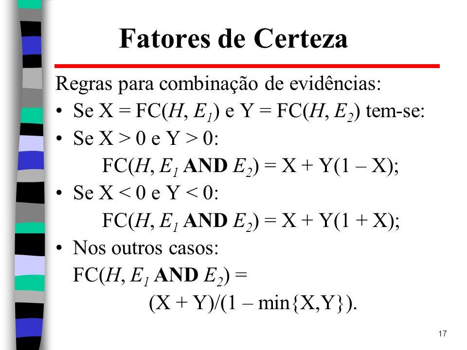 17 Fatores de Certeza Regras para combinação de evidências: Se X = FC(H, E 1 ) e Y = FC(H, E 2 ) tem-se: Se X > 0 e Y > 0: FC(H, E 1 AND E 2 ) = X + Y
