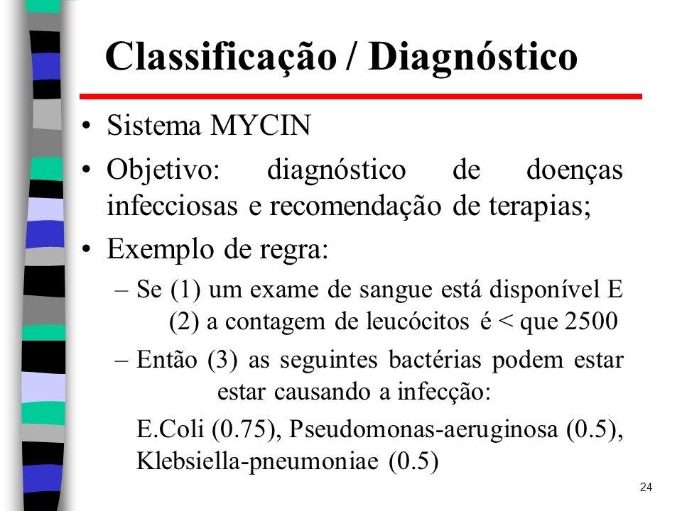 24 Classificação / Diagnóstico Sistema MYCIN Objetivo: diagnóstico de doenças infecciosas e recomendação de terapias; Exemplo de regra: –Se (1) um exa
