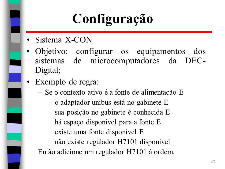 25 Configuração Sistema X-CON Objetivo: configurar os equipamentos dos sistemas de microcomputadores da DEC- Digital; Exemplo de regra: –Se o contexto