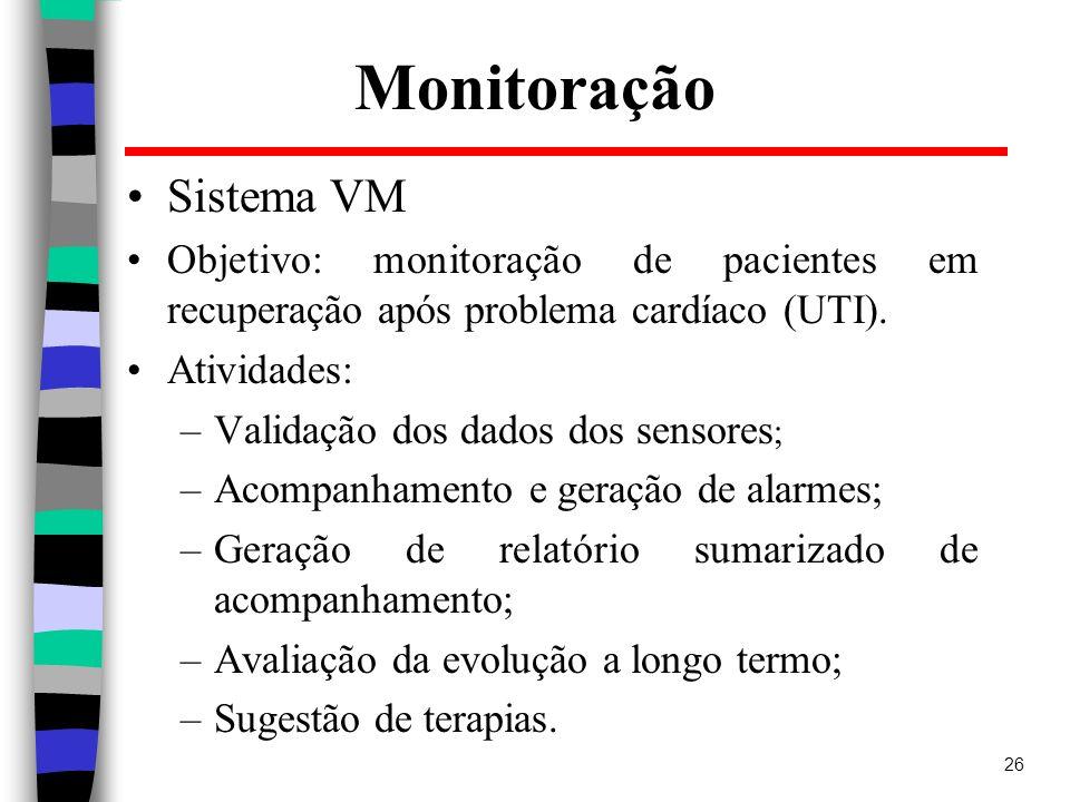 26 Monitoração Sistema VM Objetivo: monitoração de pacientes em recuperação após problema cardíaco (UTI). Atividades: –Validação dos dados dos sensore