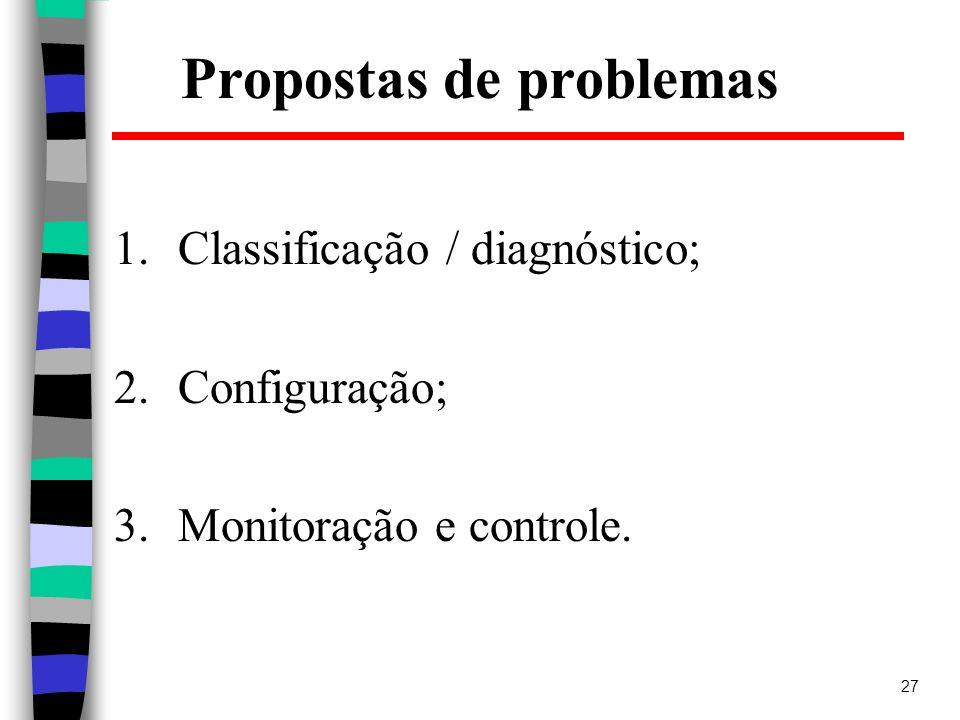 27 Propostas de problemas 1.Classificação / diagnóstico; 2.Configuração; 3.Monitoração e controle.