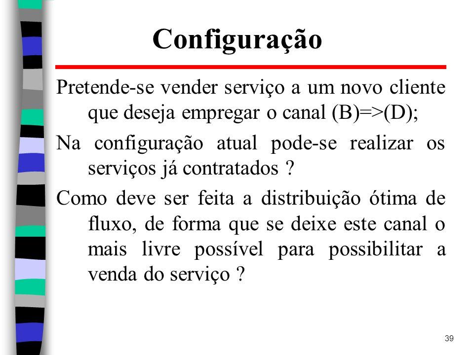 39 Configuração Pretende-se vender serviço a um novo cliente que deseja empregar o canal (B)=>(D); Na configuração atual pode-se realizar os serviços