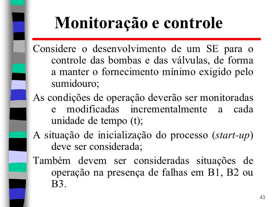 43 Monitoração e controle Considere o desenvolvimento de um SE para o controle das bombas e das válvulas, de forma a manter o fornecimento mínimo exig