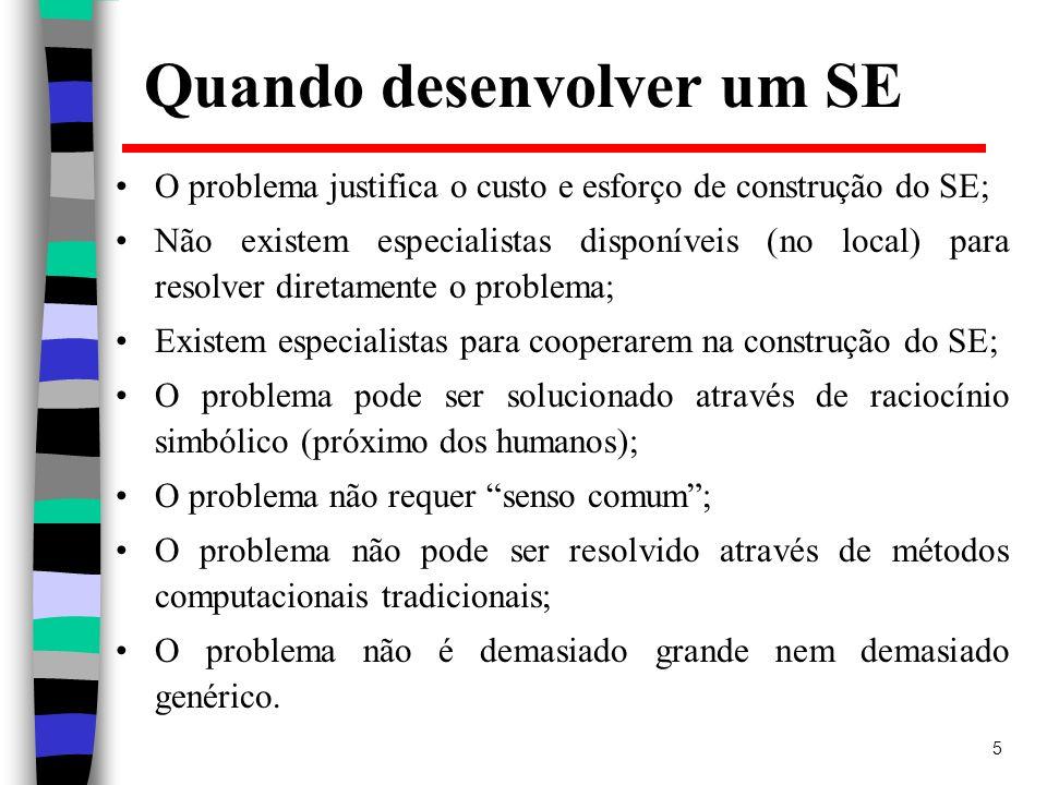 5 Quando desenvolver um SE O problema justifica o custo e esforço de construção do SE; Não existem especialistas disponíveis (no local) para resolver