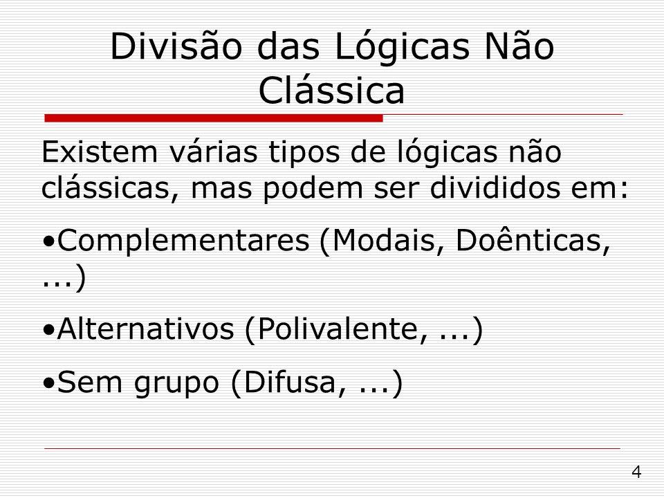 Divisão das Lógicas Não Clássica Existem várias tipos de lógicas não clássicas, mas podem ser divididos em: Complementares (Modais, Doênticas,...) Alt