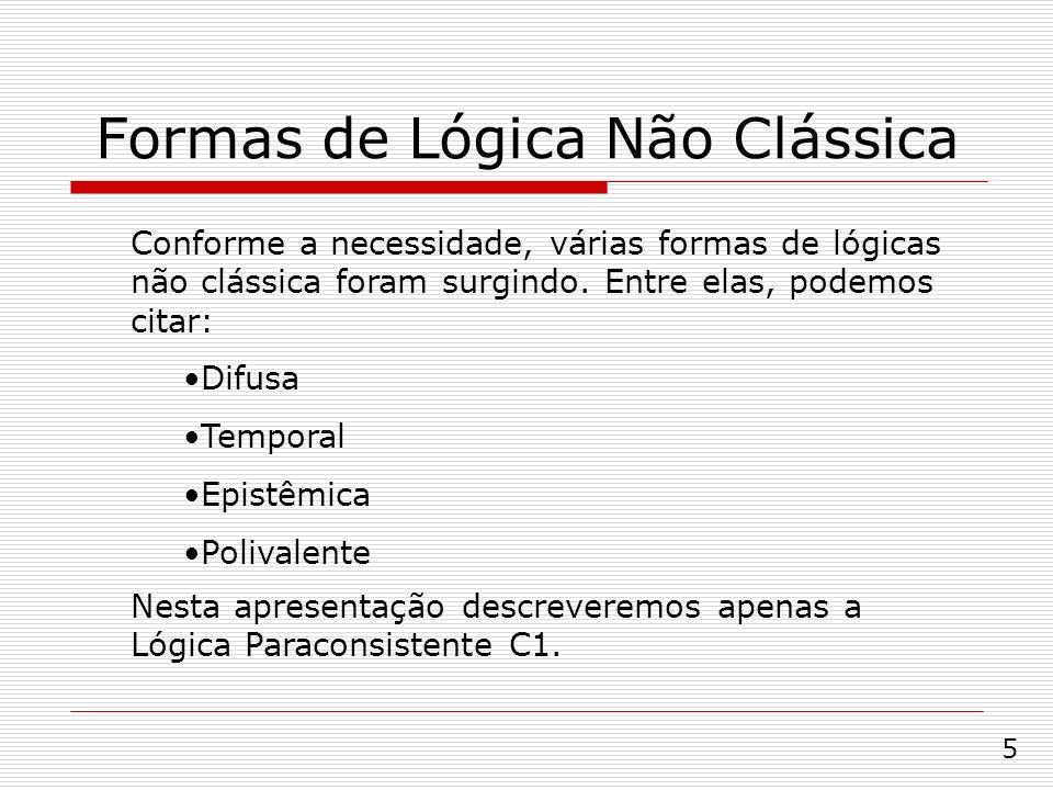 Formas de Lógica Não Clássica Conforme a necessidade, várias formas de lógicas não clássica foram surgindo. Entre elas, podemos citar: Difusa Temporal