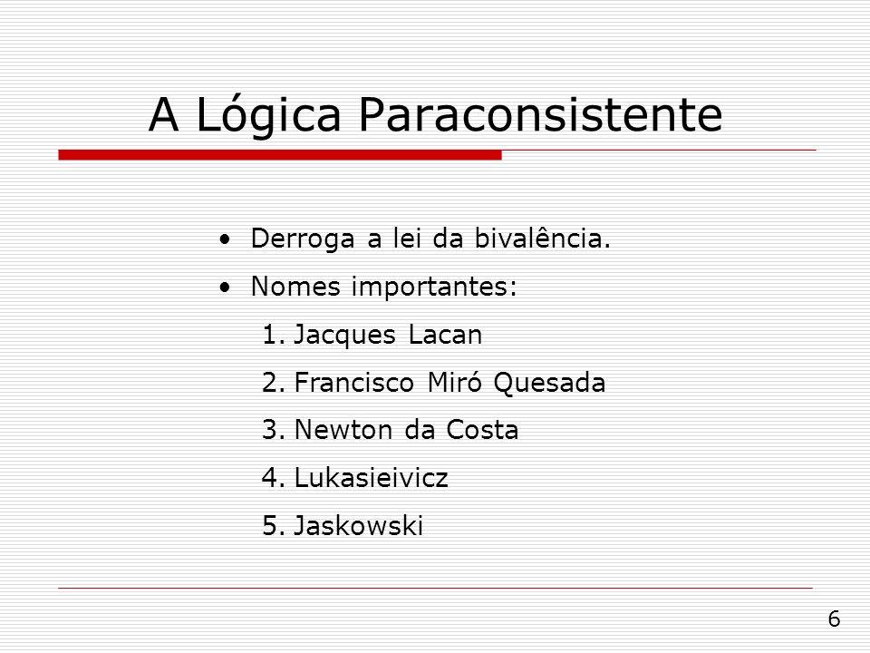 A Lógica Paraconsistente Derroga a lei da bivalência. Nomes importantes: 1.Jacques Lacan 2.Francisco Miró Quesada 3.Newton da Costa 4.Lukasieivicz 5.J