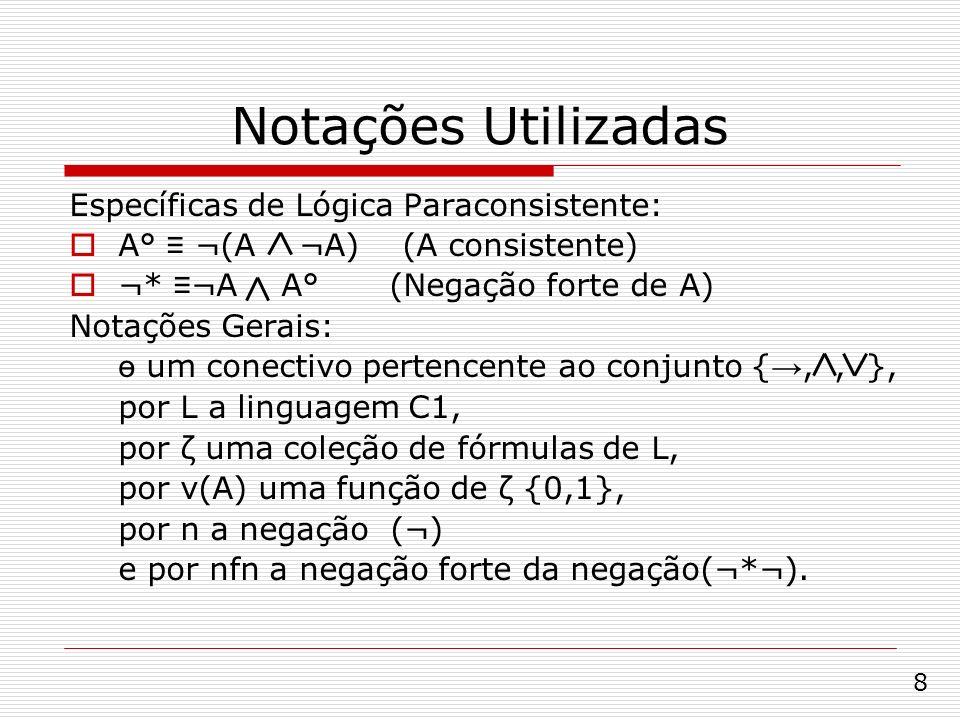Notações Utilizadas Específicas de Lógica Paraconsistente: A° ¬(A ¬A) (A consistente) ¬* ¬A A° (Negação forte de A) Notações Gerais: ө um conectivo pe