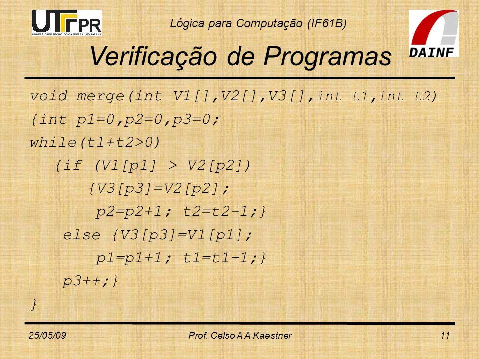 Lógica para Computação (IF61B) Verificação de Programas void merge(int V1[],V2[],V3[], int t1,int t2) {int p1=0,p2=0,p3=0; while(t1+t2>0) {if (V1[p1]
