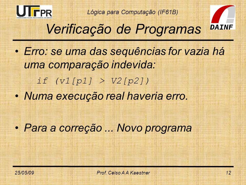 Lógica para Computação (IF61B) Verificação de Programas Erro: se uma das sequências for vazia há uma comparação indevida: if (v1[p1] > V2[p2]) Numa ex