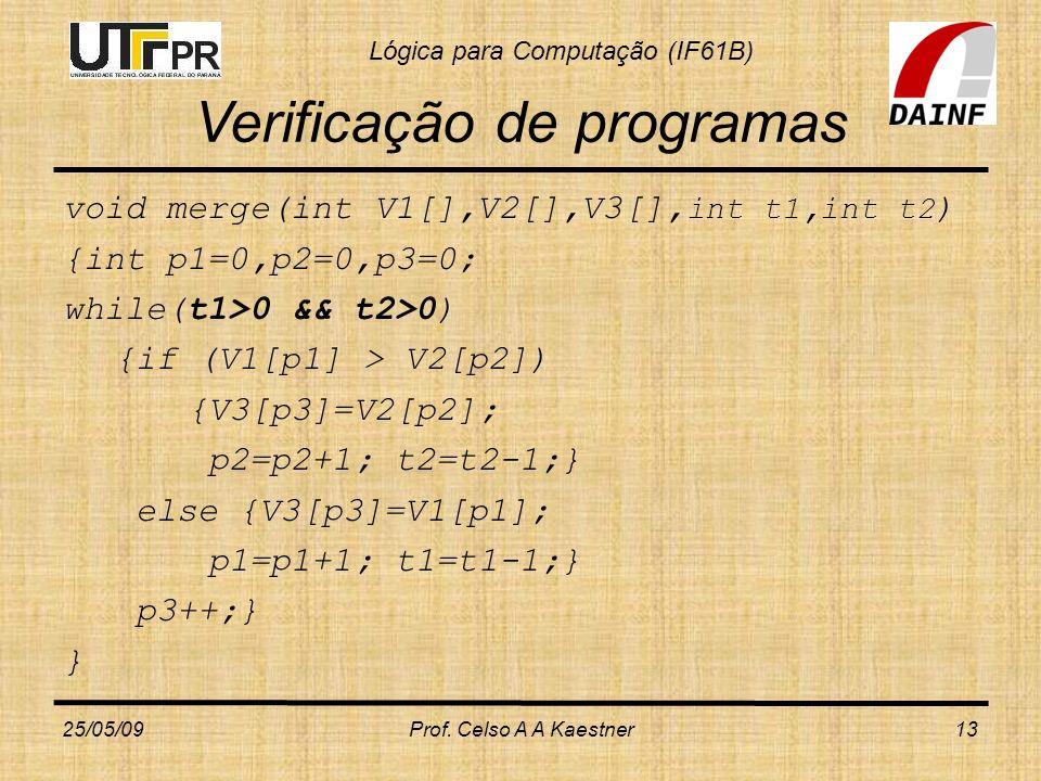 Lógica para Computação (IF61B) Verificação de programas void merge(int V1[],V2[],V3[], int t1,int t2 ) {int p1=0,p2=0,p3=0; while(t1>0 && t2>0) {if (V