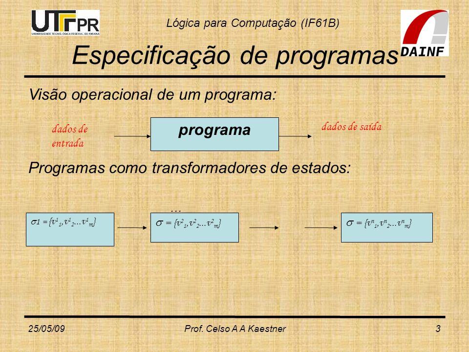 Lógica para Computação (IF61B) 25/05/09Prof. Celso A A Kaestner3 Especificação de programas Visão operacional de um programa: Programas como transform