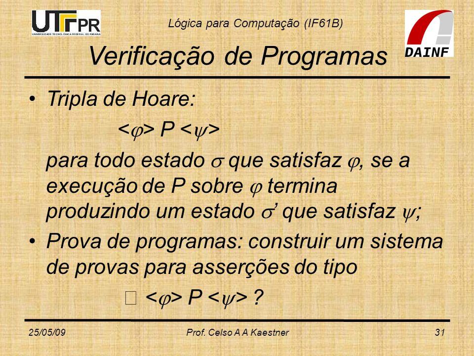 Lógica para Computação (IF61B) Verificação de Programas Tripla de Hoare: P para todo estado que satisfaz, se a execução de P sobre termina produzindo