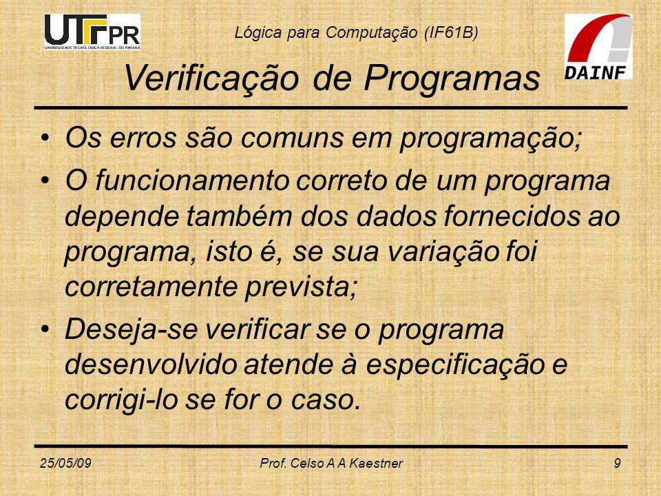 Lógica para Computação (IF61B) Verificação de Programas Os erros são comuns em programação; O funcionamento correto de um programa depende também dos