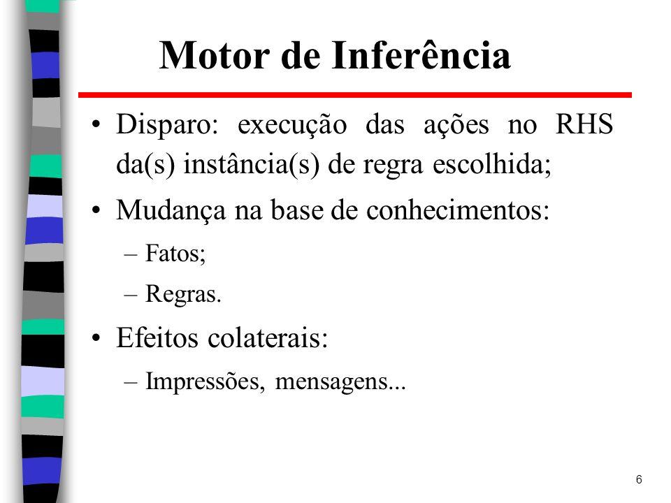 6 Motor de Inferência Disparo: execução das ações no RHS da(s) instância(s) de regra escolhida; Mudança na base de conhecimentos: –Fatos; –Regras. Efe