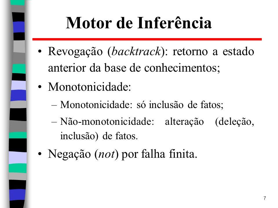7 Motor de Inferência Revogação (backtrack): retorno a estado anterior da base de conhecimentos; Monotonicidade: –Monotonicidade: só inclusão de fatos