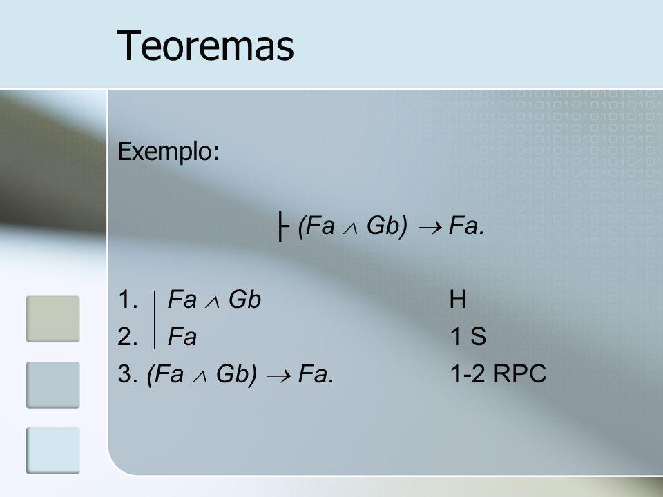 Teoremas Exemplo: (Fa Gb) Fa. 1. Fa GbH 2. Fa1 S 3. (Fa Gb) Fa.1-2 RPC