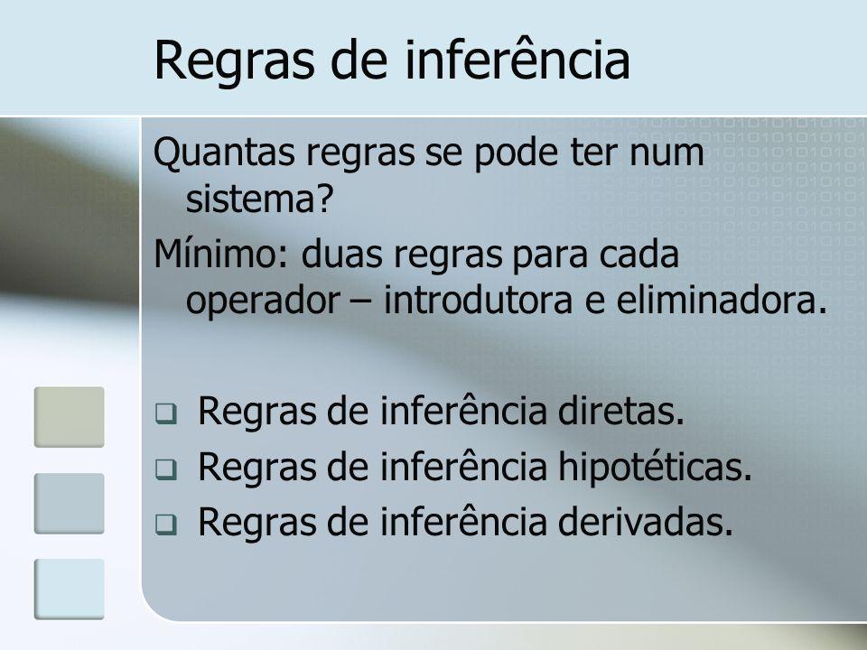 Regras de inferência Quantas regras se pode ter num sistema? Mínimo: duas regras para cada operador – introdutora e eliminadora. Regras de inferência