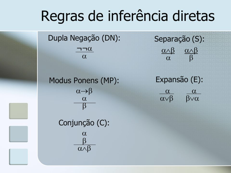Regras de inferência hipotéticas Cb ¬Fnp ¬(Cb Fnp) 1.