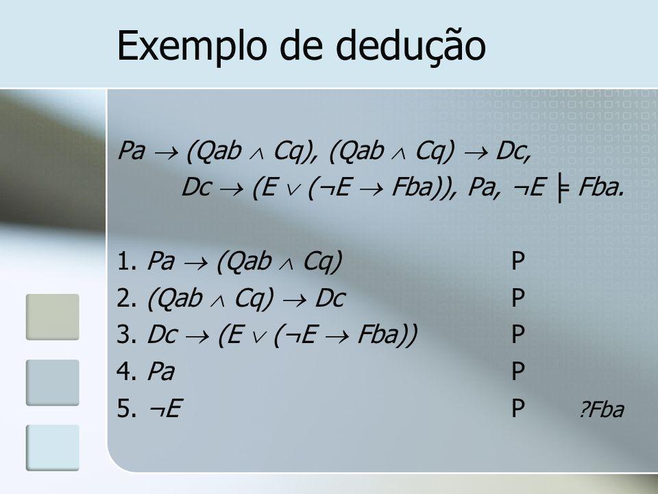 Exemplo de dedução Pa (Qab Cq), (Qab Cq) Dc, Dc (E (¬E Fba)), Pa, ¬E Fba. 1. Pa (Qab Cq)P 2. (Qab Cq) DcP 3. Dc (E (¬E Fba))P 4. PaP 5. ¬EP ?Fba