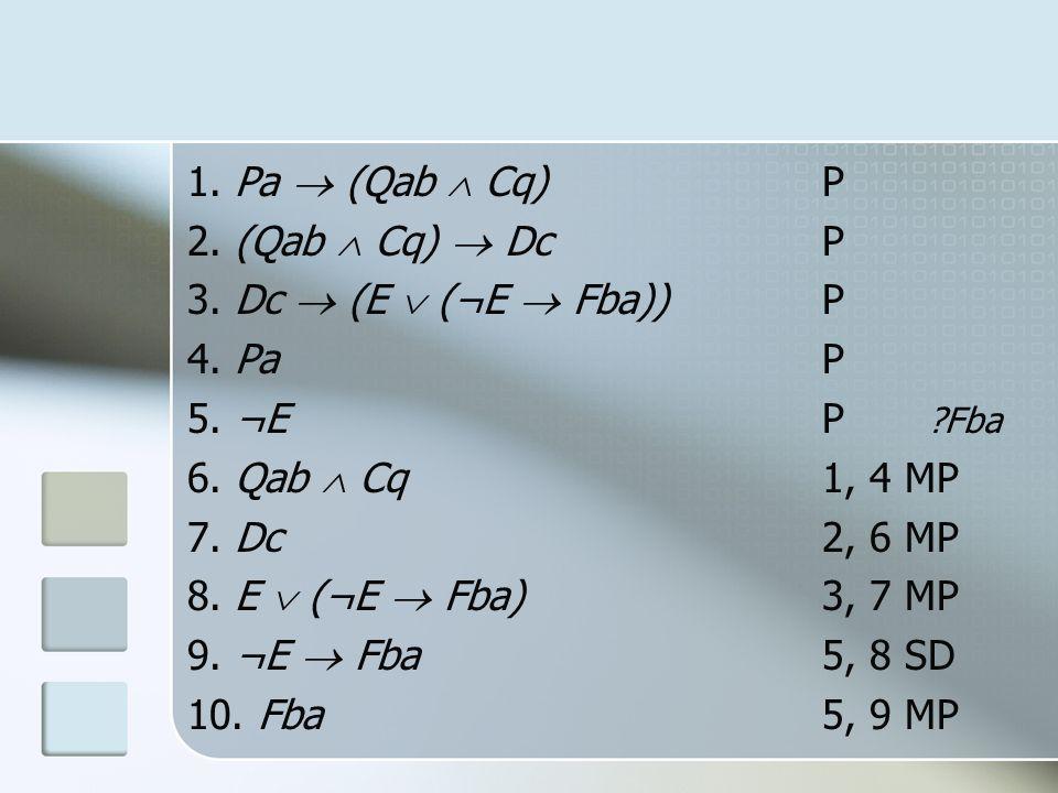 1. Pa (Qab Cq)P 2. (Qab Cq) DcP 3. Dc (E (¬E Fba))P 4. PaP 5. ¬EP ?Fba 6. Qab Cq1, 4 MP 7. Dc2, 6 MP 8. E (¬E Fba)3, 7 MP 9. ¬E Fba5, 8 SD 10. Fba5, 9