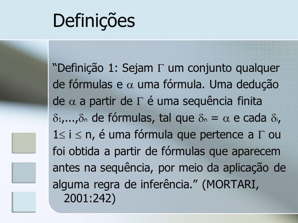 Definições Definição 1: Sejam um conjunto qualquer de fórmulas e uma fórmula. Uma dedução de a partir de é uma sequência finita 1,..., n de fórmulas,