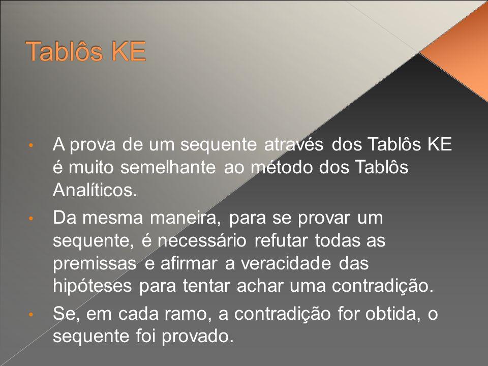 A prova de um sequente através dos Tablôs KE é muito semelhante ao método dos Tablôs Analíticos. Da mesma maneira, para se provar um sequente, é neces