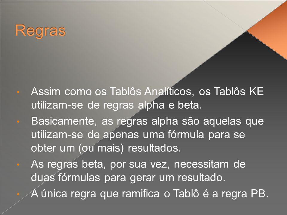 Assim como os Tablôs Analíticos, os Tablôs KE utilizam-se de regras alpha e beta.