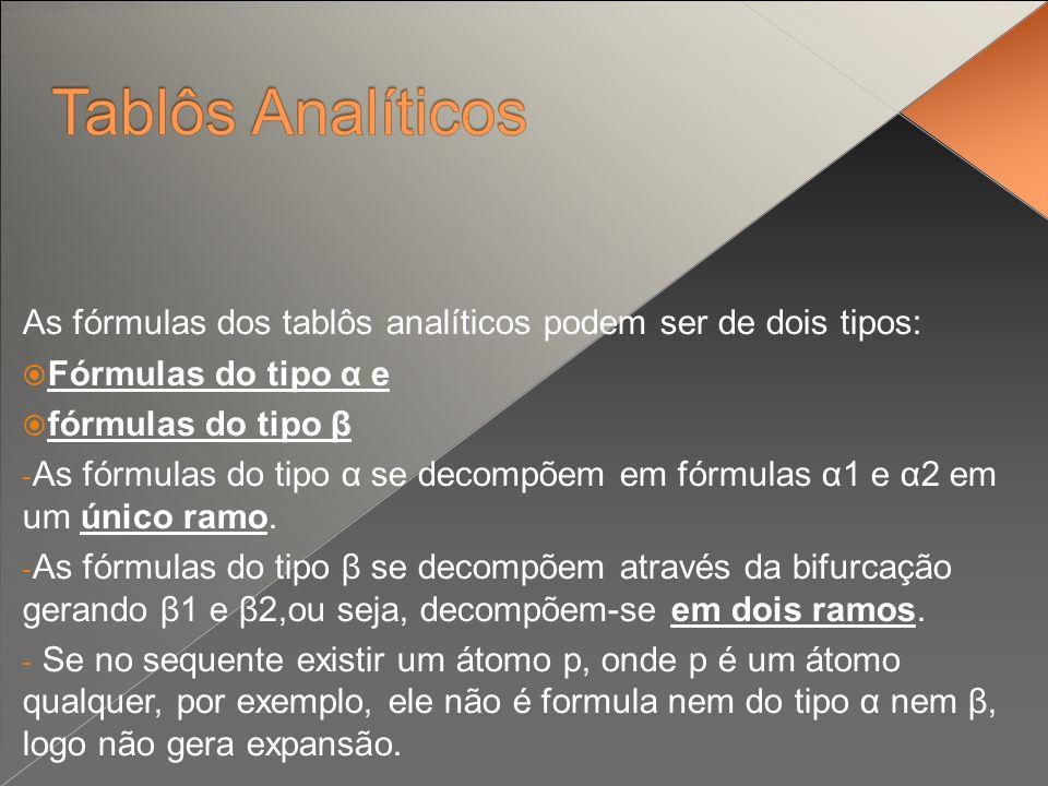 As fórmulas dos tablôs analíticos podem ser de dois tipos: Fórmulas do tipo α e fórmulas do tipo β - As fórmulas do tipo α se decompõem em fórmulas α1 e α2 em um único ramo.